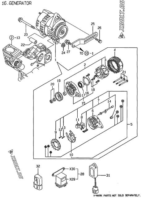 Генератор двигателя Yanmar 3TNE74-AMM — XBOLT RU