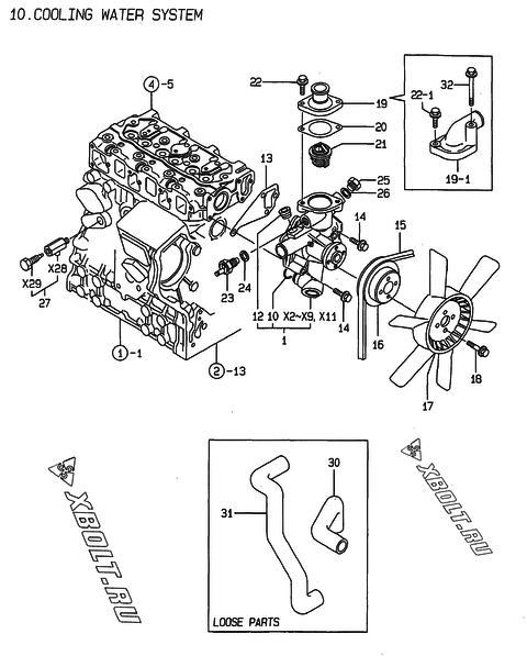 Система водяного охлаждения двигателя Yanmar 3TNE74-HIN — XBOLT RU