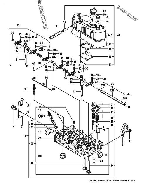 Головка блока цилиндров (гбц) двигателя Yanmar 3TNE74-ENSR2 — XBOLT RU