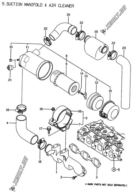 Впускной коллектор и воздушный фильтр двигателя Yanmar