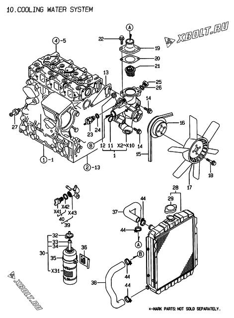 Система водяного охлаждения двигателя Yanmar 3TNE74-ENSR2