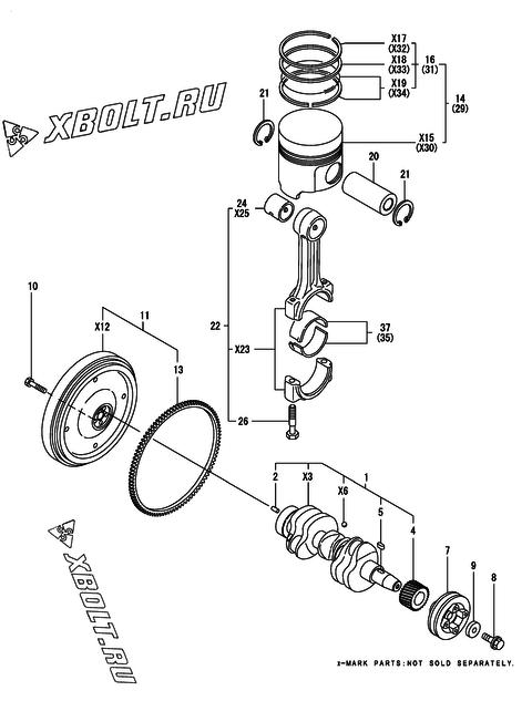Коленвал и поршень двигателя Yanmar 3TNE74-ENSR3 — XBOLT RU