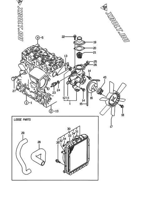 Система водяного охлаждения двигателя Yanmar 3TNE74-EDO